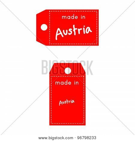 Red Price Tag Or Label With White Word Made In Austria Isolated On White Background