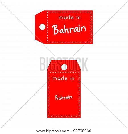 Red Price Tag Or Label With White Word Made In Bahrain Isolated On White Background.