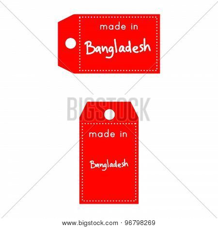red price tag or label with white word Made in Bangladesh isolated on white background.