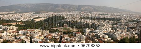 ATHENS, GREECE - OCTOBER 20, 2008: Temple of Olympian Zeus in Athens, Greece. Panorama from the Acropolis of Athens.