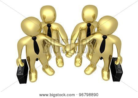 3d people gold businessman - human character , person with briefcase. Partnership and friends