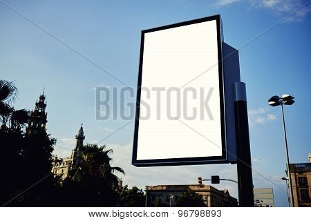 Blank billboard with copy space for your text message or content in metropolitan city