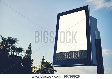 Information board with copy space for your text message or content in the big town