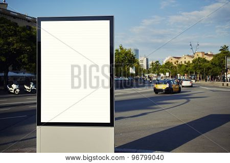 Blank billboard with copy space for your text message or content in the big city