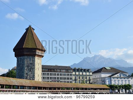 Chaple bridge ancient jail and landmark in Luzern Switzerlnd