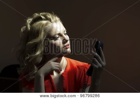 Serious Female Secretary With Phone