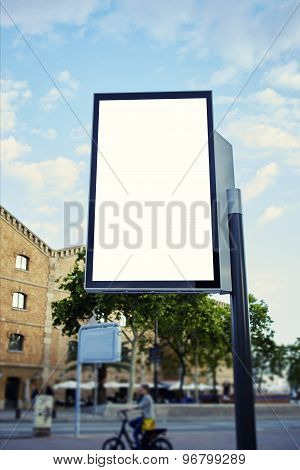 Blank billboard with copy space for your text message or content in metropolitan city at sunny day