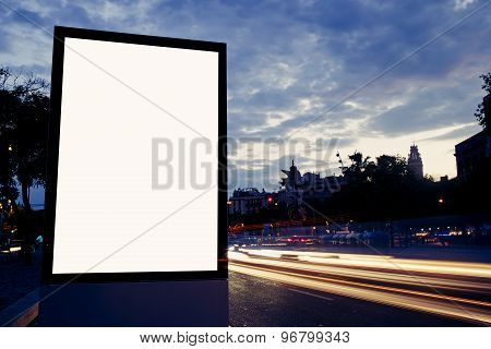 Illuminated blank billboard with copy space for your text message or content