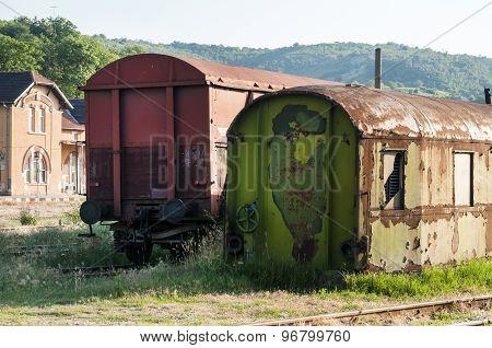 Abandoned weathered grunge wagons