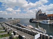 image of veer  - Old picturesque Dutch historical port in Veere Zeeland - JPG