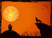 stock photo of wolf moon  - Halloween night background with wolf castle Moon cemetery and bats - JPG