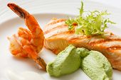 foto of salmon steak  - salmon steak - JPG