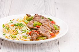 pic of mongolian  - North Asian dish Mongolian Noodles with Beef - JPG