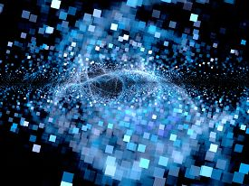stock photo of big-bang  - Big bang of future technologies computer generated abstract background square particles - JPG