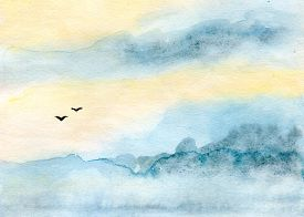 pic of water bird  - skyscape and clouds - JPG
