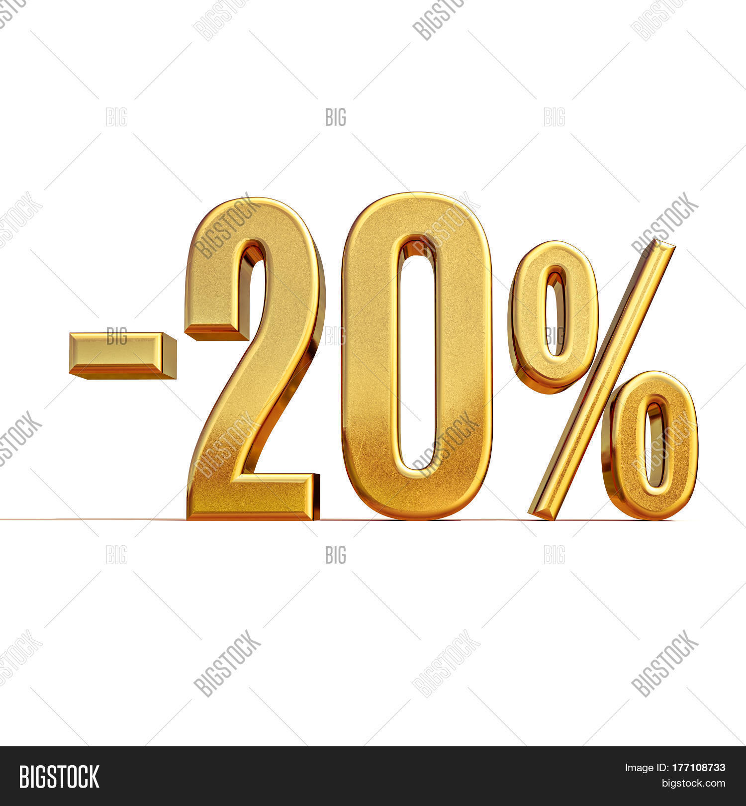 3d render gold 20 percent off image photo bigstock. Black Bedroom Furniture Sets. Home Design Ideas