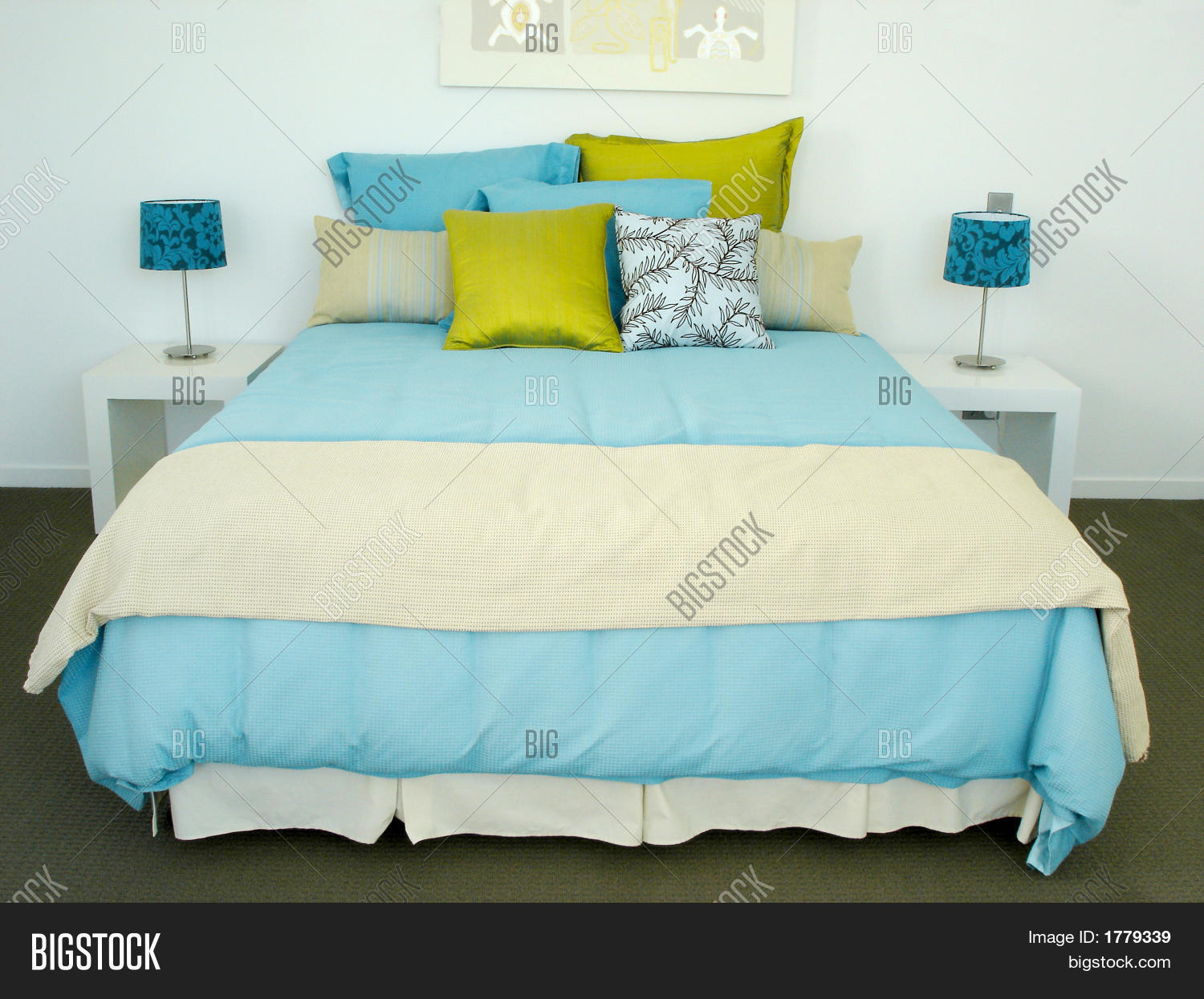 Bright Blue Bedroom Image Photo Bigstock