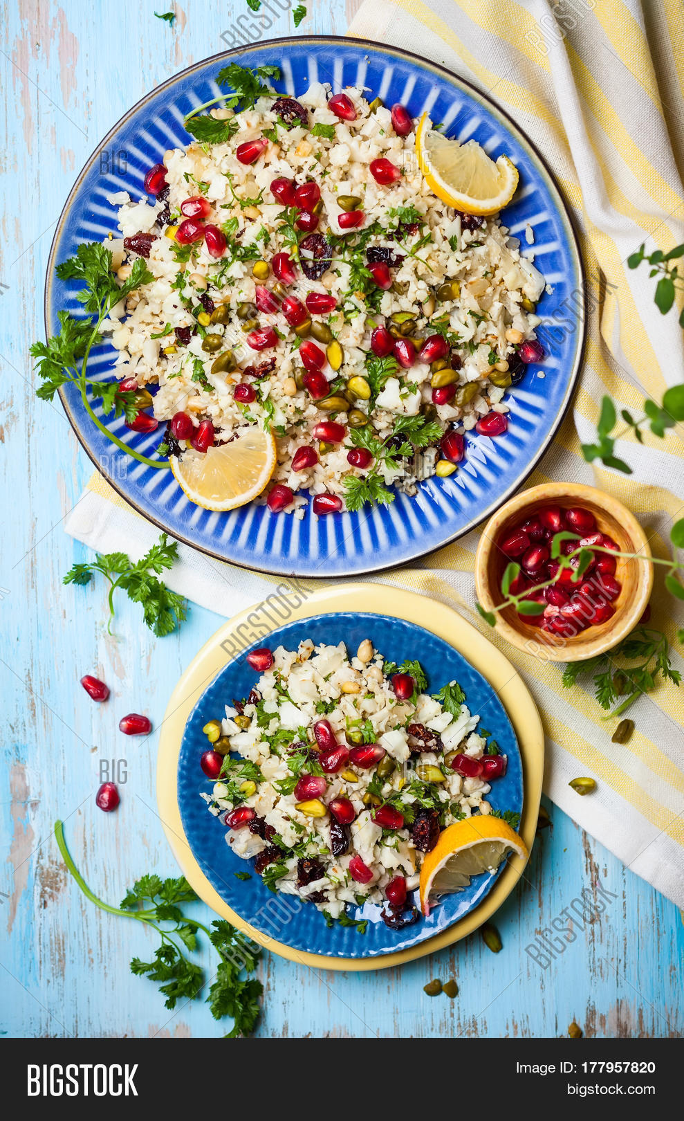 Cauliflower couscous with dried cranberry, pomegranate ...