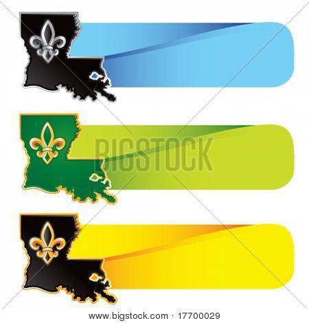 louisiana state shape on colored tabs