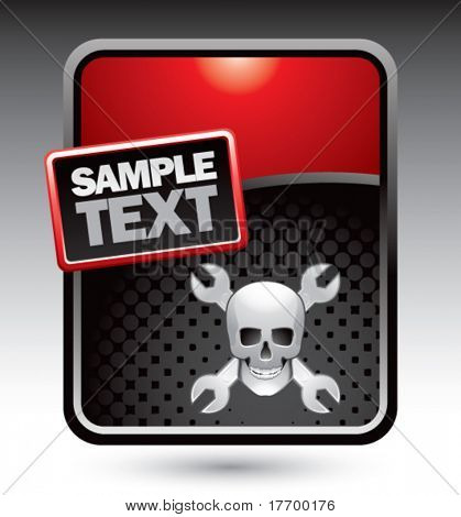 skull with crossed wrenches on red stylized template