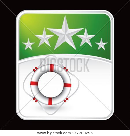 life ring on green star background