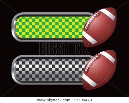 football on green and black checkered tabs