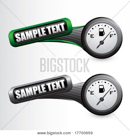 gas gauge on tilted green and silver banners