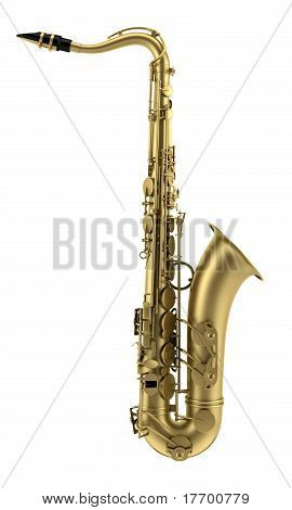 brass tenor saxophone isolated on white background