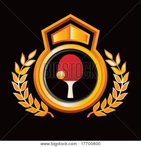 paleta de ping pong y bola en naranja royal crest