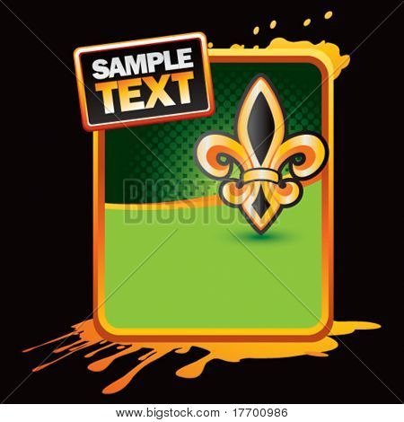 fleur de lis on orange splattered banner