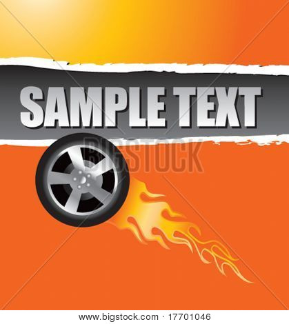 flaming racing tire on orange ripped advertisement