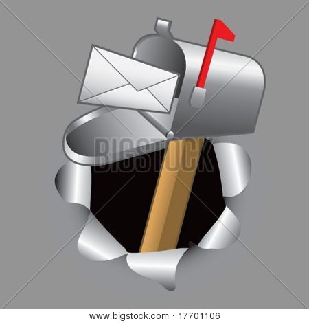 mailbox coming out of paper hole