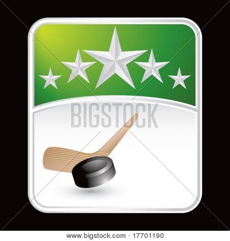 hockey stick on green superstar background