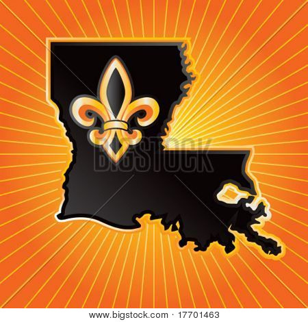 louisiana state shape on orange starburst