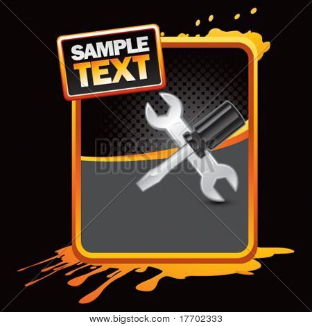 worker tools on orange splattered template