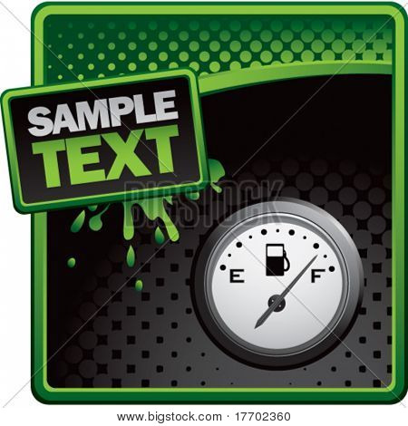 gas gauge on green and black halftone banner template