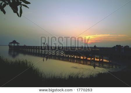 Pier & Gazebo Sunset Silhouette