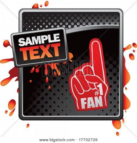 fan hand on black halftone banner template