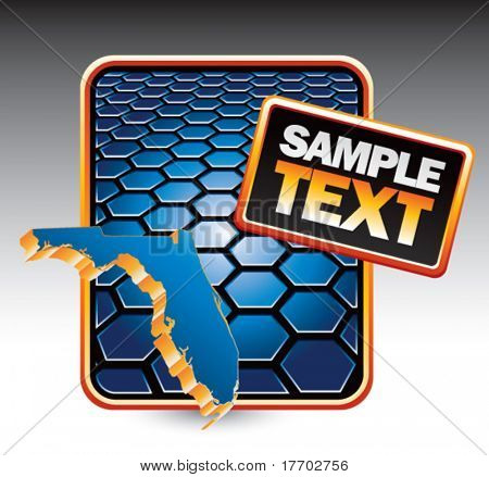 florida state shape on blue hexagon banner template