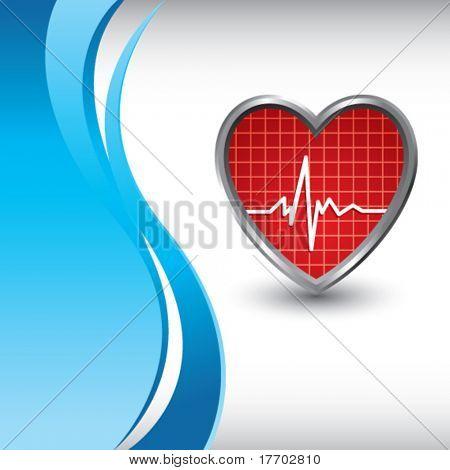 heart beat on vertical blue wave backdrop