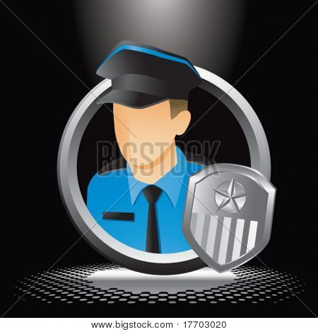policial e emblema sob holofotes