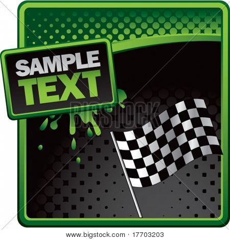 checkered flag grungy splattered background colored green