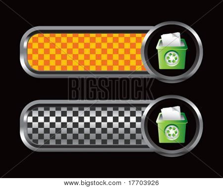 recycle bin on orange and black checkered banners