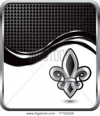 fleur de lis on black checkered wave background