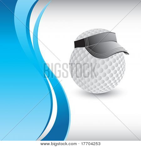 golf ball with visor on vertical blue wave background