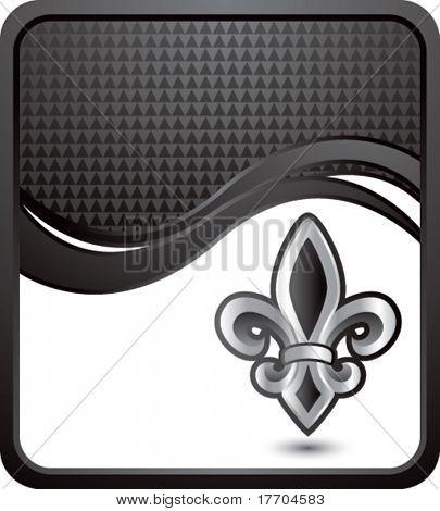 fleur de lis symbol on black checkered wave background