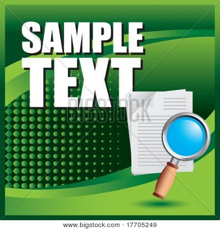 magnifying glass on document on green halftone banner