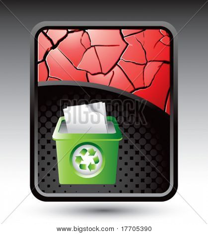 recycle bin on red cracked background
