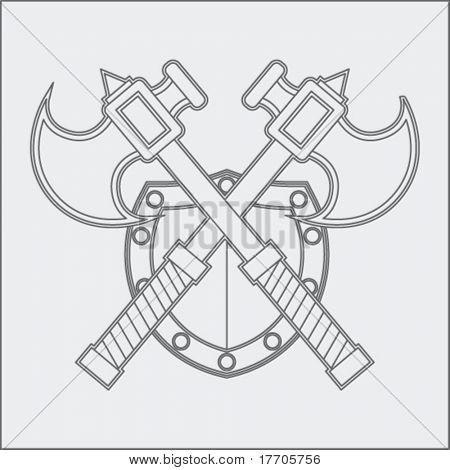 ejes y escudo dibujo