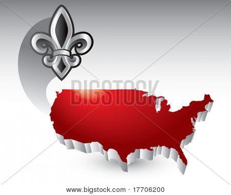 fleur de lis over united states icon